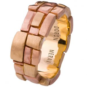 Bricks Tricolor Wedding Band