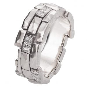 Bricks Diamond Wedding Band White Gold
