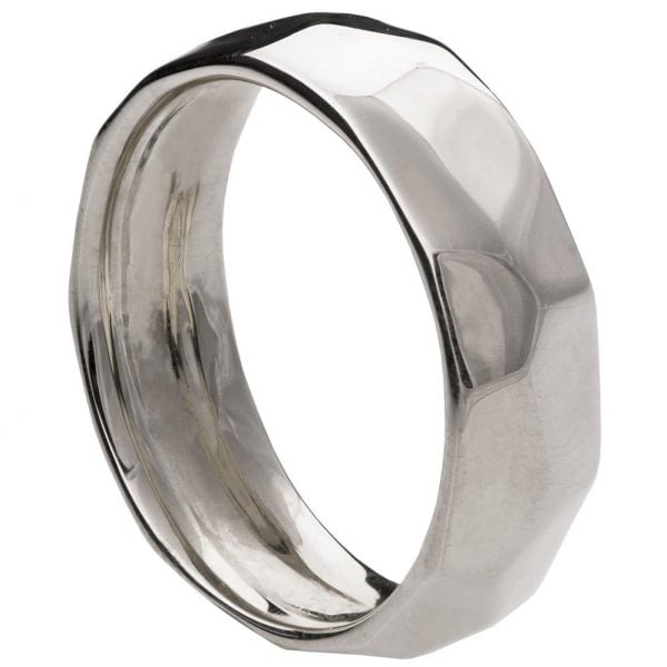 Hammered Wedding Band Platinum 1 Doron Merav