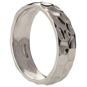 Hammered Wedding Band Platinum 2