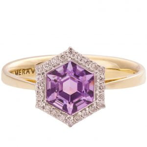 Art Deco Hexagon Engagement Ring Yellow Gold and Amethyst R018