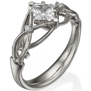 Princess Cut Celtic Engagement Ring White Gold and Diamonds ENG9