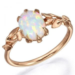 Leaves Opal Engagement Ring Yellow Gold 14