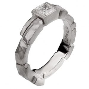 Bricks White Gold Engagement Ring 3
