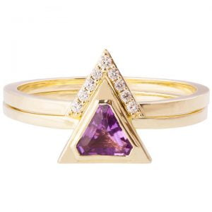 Triangle Bridal Set Yellow Gold and Amethyst R021