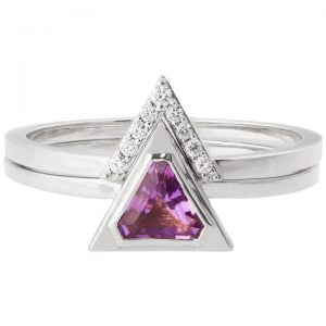 Triangle Bridal Set White Gold and Amethyst R021