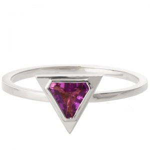 Art Deco Triangle Engagement Ring White Gold and Amethyst R021