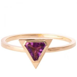 Art Deco Triangle Ring Rose Gold and Amethyst R021
