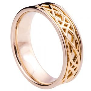 Two Tone Celtic Wedding Band Yellow Gold 9W