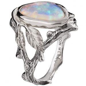 Twig and Leaf Opal Ring Platinum 8