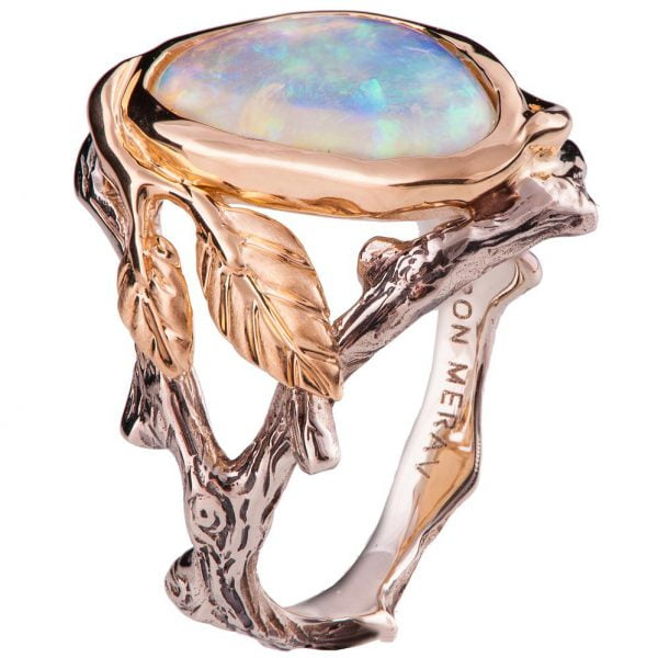 398f3e2576616b Twig and Leaf Opal Engagement Ring Rose Gold 8 - Doron Merav