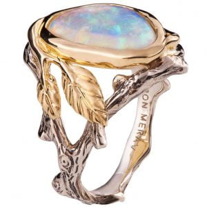 Twig and Leaf Opal Engagement Ring Yellow Gold 8