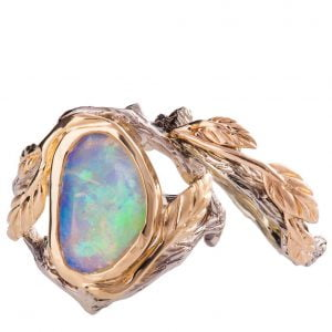 Twig and Leaf Opal Bridal Set Rose Gold 8