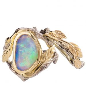 Twig and Leaf Opal Bridal Set Yellow Gold 8