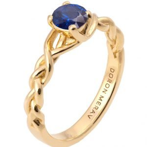 Braided Engagement Ring Yellow Gold and Sapphire 2
