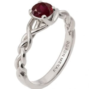 Braided Engagement Ring Platinum and Ruby 2