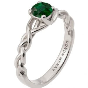 Braided Engagement Ring Platinum and Emerald 2