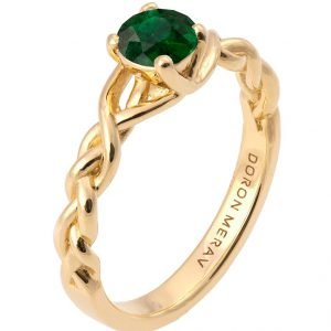 Braided Engagement Ring Yellow Gold and Emerald 2