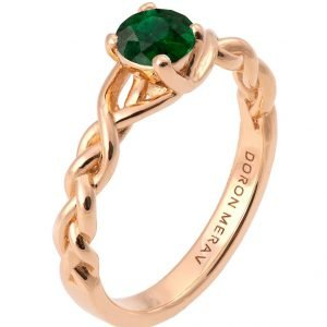 Braided Engagement Ring Rose Gold and Emerald 2
