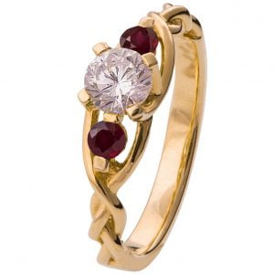 Braided Three Stone Engagement Ring Yellow Gold Diamond and Rubies 7T