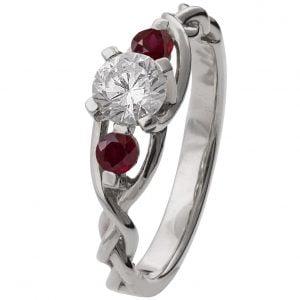 Braided Three Stone Engagement Ring White Gold Diamond and Rubies 7T