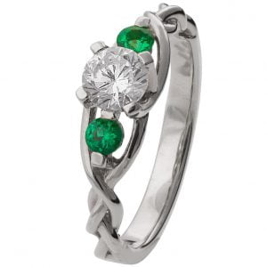 Braided Three Stone Engagement Ring White Gold Diamond and Emeralds 7T