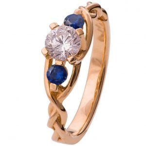 Braided Three Stone Engagement Ring Rose Gold Diamond and Sapphires 7T