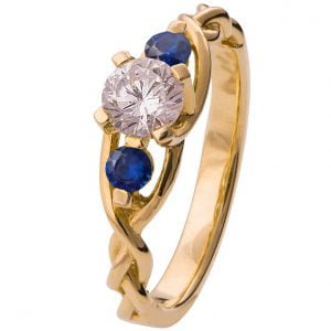 Braided Three Stone Engagement Ring Yellow Gold Diamond and Sapphires 7T
