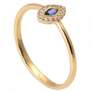 Marquise Cut Engagement Ring Yellow Gold Sapphire and Diamonds R014