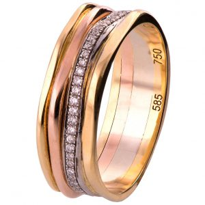 Geo Eternity Tricolor Diamond Wedding Band