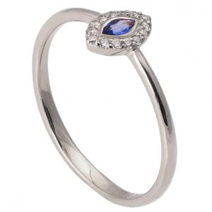 Marquise Cut Engagement Ring White Gold Sapphire and Diamonds R014