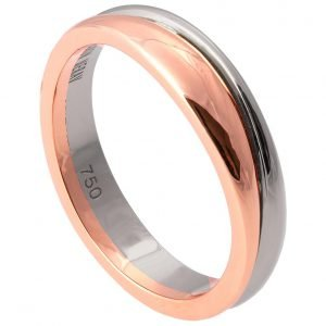 Geo Two Tone Wedding Band White and Rose Gold 2