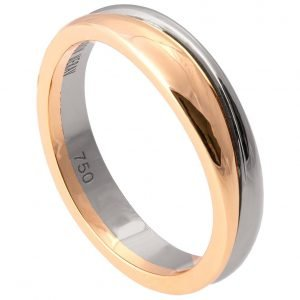 Geo Two Tone Wedding Band White and Yellow Gold 2