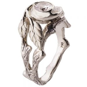 Twig and Leaf Engagement Ring Platinum and Diamond 8