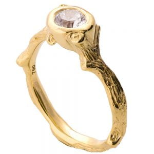 Twig Engagement Ring Yellow Gold and Diamond 10