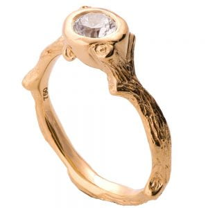 Twig Engagement Ring Rose Gold and Diamond 10