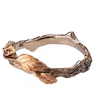 Twig and Leaf Wedding Band Rose Gold 11