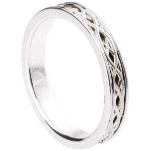 Celtic Wedding Band White Gold 9T