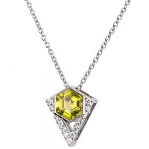 Hexagon Pendant White Gold and Diamonds