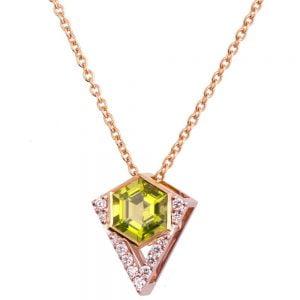 Hexagon Pendant Rose Gold and Diamonds