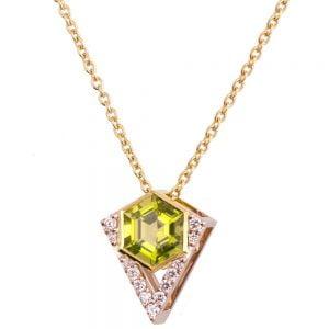 Hexagon Pendant Yellow Gold and Diamonds