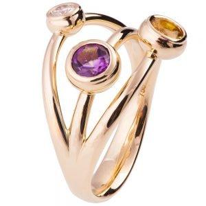 Multi Stone Ring Rose Gold R023