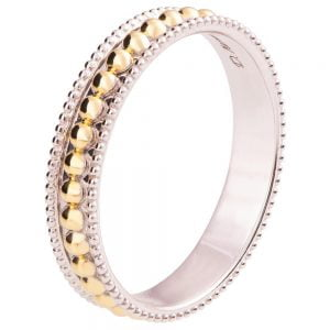 Two Tone Milgrain Wedding Band Yellow Gold R030