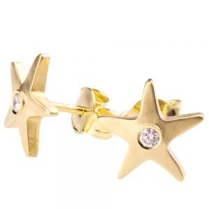 Starfish Earrings Yellow Gold and Diamonds