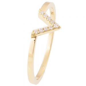 V Ring Yellow Gold and Diamonds R021