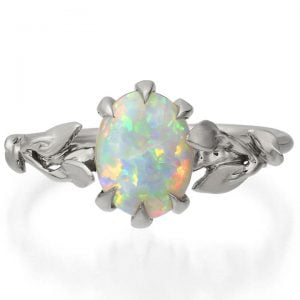 Leaves Opal Engagement Ring Platinum 14