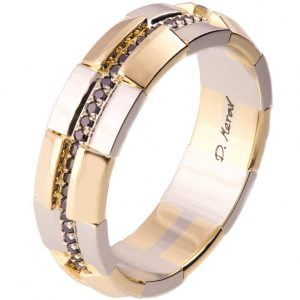 Men's Wedding Band Yellow Gold and Black Diamonds BNG19