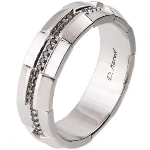 Men's Wedding Band Platinum and Black Diamonds BNG19
