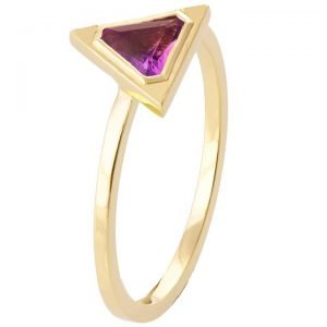 Art Deco Triangle Engagement Ring Yellow Gold and Amethyst R021