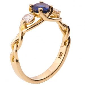 Braided Three Stone Engagement Ring Yellow Gold and Sapphire 7